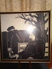 Charles Turzak Style Wood Block Print Old Man and Woman Park Bench 1939?