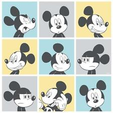 DISNEY MICKEY MOUSE POP ART PATTERN CARTOON CHILDRENS WALLPAPER YELLOW BLUE