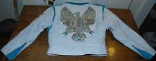 RARE Womens Luxury Studded Studs Eagle Hawk Bird White Leather Biker Jacket