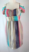 BCBGeneration $118 Dress 2 XS Turquoise Pink Blue Gray Chiffon Off Shoulder New