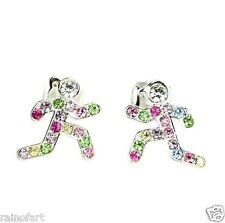 W Swarovski Crystal Runners Girl Boy Multi Color Jewelry Earrings