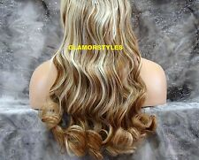 """18"""" BLONDE MIX FLIP IN SECRET CLEAR WIRE HAIR PIECE EXTENSIONS NO CLIP IN/ON"""