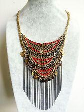 Free spirit Bronze Tassel Fringe African Bohemian people Necklace