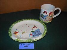 Vtg FITZ and FLOYD Pig Rooster Figural Mug Cup and Plate Bacon & Egg