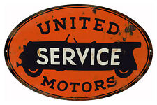 Reproduction United Service Motors Gas Station Sign 9X14 Oval
