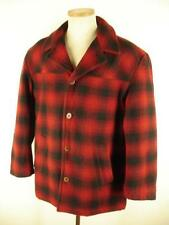 mens M J. CREW Red Black Buffalo Check Plaid Wool Pea Coat Jacket Hunting Winter