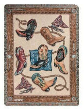 Yee Haw Western Cowboy Boots Tapestry Afghan Throw