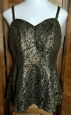 TORRID Top Black Gold Lace Sexy Evening Tanktop NEW WITH TAGS SIZE 0 14 16 Shirt