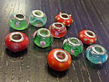 Lot of 10 Sterling Silver 925 Multi Color Murano Glass Bead Charms
