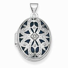 14K WHITE GOLD ANTIQUE-STYLE TEXTURED LOCKET WITH DIAMOND - 1.9 GRAMS - 1.2""