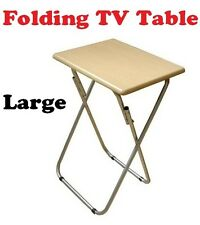 Folding / Foldable Occasional TV Table Tea Coffee Bed Side With Metal Legs Large