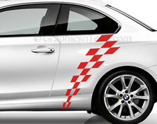BMW 1 Series Car Sticker Decal, Checker Flag Chequered Side Stripe,  Graphic