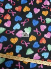 "CANCER AWARENESS PRINT FLEECE FABRIC - Heart Ribbons - 60"" WIDTH SOLD BTY - 267"