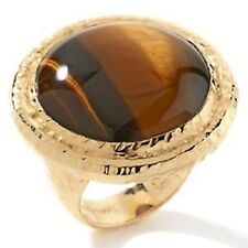 "RARITIES CAROL BRODIE ROUND CABOCHON TIGER'S EYES ""BOLD"" VERMEIL RING SIZE 6 HSN"