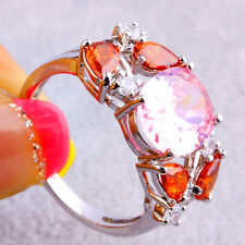 Gifts Oval Cut Pink White Topaz Garnet Red Gemstone Silver Fashion Ring Size 10