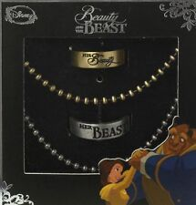 DISNEY PRINCESS BELLE BEAUTY AND THE BEAST HIS HERS RING SET NECKLACE SIZE 6 10