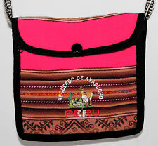 Peru Peruvian Cross Body Bag Llama Pink Brown Native Wool Design Woven Small