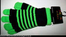 TEENS & CHILD NEON STRIPES HAT & ATTACHED SCARF & OR NEON KNITTED 2 IN 1 GLOVES