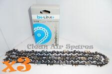 3x Semi Chisel Chainsaw Chain 3/8LP Low Profile 043 50DL Stihl Husqvarna Talon