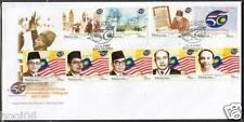 MALAYSIA 2007 50th Anniv Golden Jubilee of Independence 4v + Booklet stamps FDC