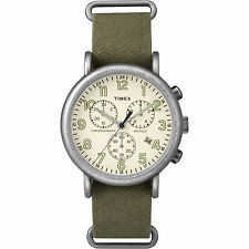 Timex Men's Weekender Chronograph Oversized   Green Fabric Strap Watch TW2P85500
