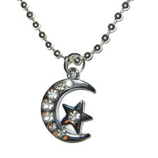Crescent Moon w/ Star Silver Plated Real Crystals Pendant Charm Necklace