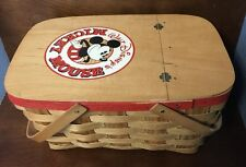 Disney Mickey Mouse Picnic Basket W/ Fremware Cups and Plates