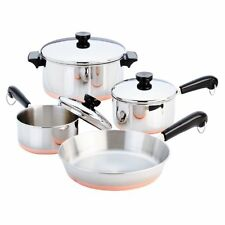Revere Ware Cookware Set 7 PC Copper Bottom Stainless Steel Cooking Pot Pan Lids