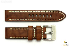 26mm Brown Smooth Leather Watch Band Strap w/Stitches Fits Luminox Anti-Allergic