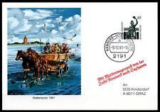 Pferde. Wattenpost Hamburg - Insel Neuwerk. Postkarte. SoSt. BRD 1991