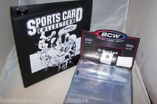"1 BCW Black Sports Card Collector Storage 3"" D-Ring  Album Binder & 100 Pages"