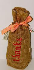 Burlap Embroidered Wine Gift Bags-Thanks-Keep On Hand for Last Minute Gifts