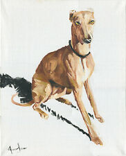 Postcard Whippet acrylic painting  animals Self-representing Artist