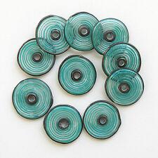 RachelArt - Teal Glass Disc Beads Lampwork Handmade Spiral - 10