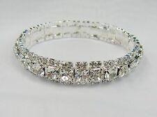 Silver Clear Rhinestone Crystal Stretch Bracelet  #2976CRY Bridal Prom Wedding