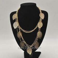 "ELEGANT GOLD RHODIUM PLATED 5 LAYER LEAF NECKLACE 36"" LONGEST LENGTH"