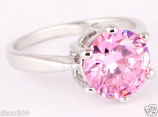 size 7.5 woman  pink sapphire 925 Silver Gold Filled 5ct wedding Ring 2176