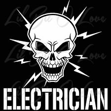 Skull and Lightning Bolts Electrician VInyl Decal Electric Stickers Themed