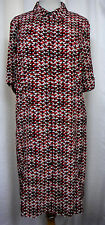 J. Jill Black White & Red Triangle Mod Print Button Front 100% Rayon Dress 16 P