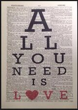 All You Need Is Love Stampa Vintage Dizionario Pagina Da Parete, Arte Beatles