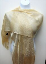 Champagne Color Shawl Metallic Scarf Wrap Glitter Party Evening Formal Fringe