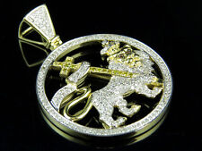10K Yellow Gold Lion Of Judah Genuine Diamond Pendant 1.55Ct 1.7""