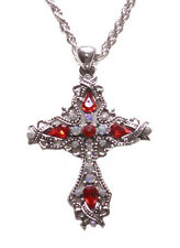 Ornate-ruby Red & Clear Diamante Cross Pendant/chrome Necklace(Zx197/225)