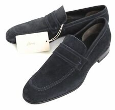 Mens BRIONI Navy Suede Penny Loafers Slip-on Shoes EU 8 1/2 US 9 1/2 D NIB