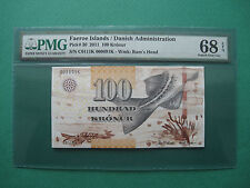2011 FAEROE ISLANDS 100 KRONUR  PMG 68 EPQ  SUPERB GEM UNC