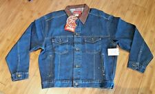 Marlboro Country Store Denim Leather Collar Jean Jacket Mens Medium NWT (UNISEX)