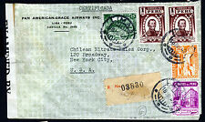 PERU to USA 1942 Air Mail Cover WITH CENSOR'S SEAL Lima to New York