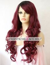Women's Synthetic Hair Front Lace Wigs Ombre Burgundy Natural Wavy Heat Safe UK