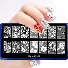 Image Lace Butterfly Rose Nails Stamping Plate Fashion Nail Art Template MJ02