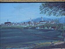 Rares altes Gemälde Stadtansicht  von Memmingen um 1830  Biedermeierzeit